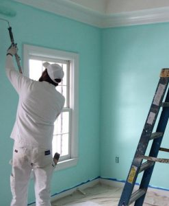 Man Painting a Wall Seafoam Teal